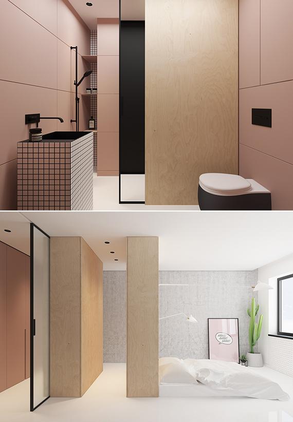 Slaapkamer met inloopkast in een klein appartement van 35m2