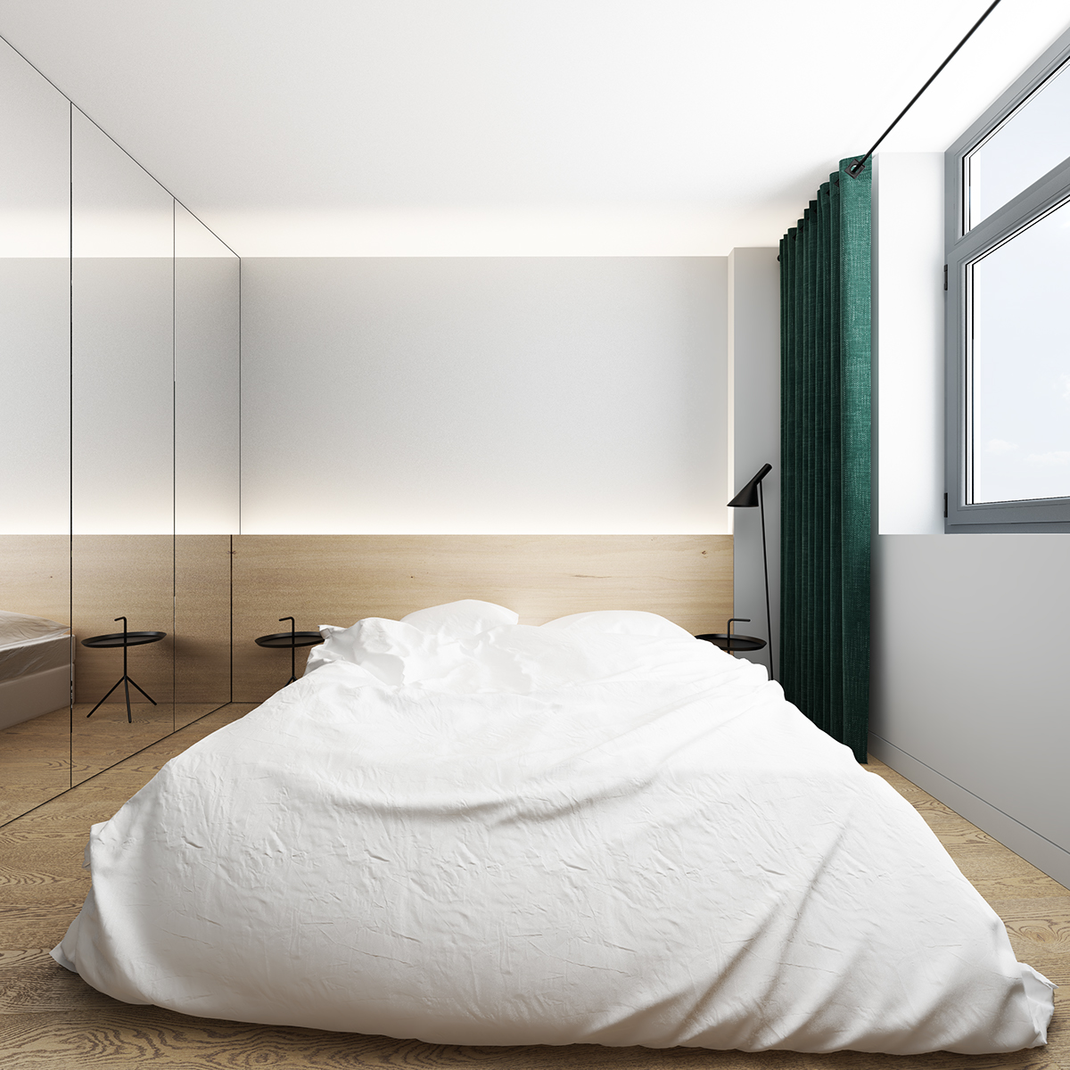 Slaapkamer met maatwerk inbouwkast met spiegeldeuren