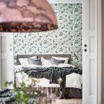 Slaapkamer met mintgroene muren
