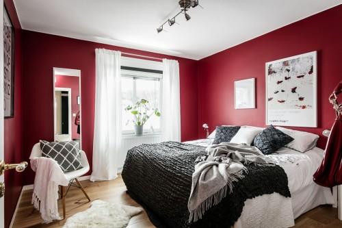 Slaapkamer met rode muren slaapkamer idee n - Grijze en rode muur ...