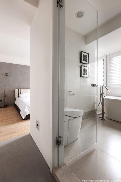 Slaapkamer met uitzicht op badkamer door glazen wand slaapkamer idee n for Slaapkamer met badkamer