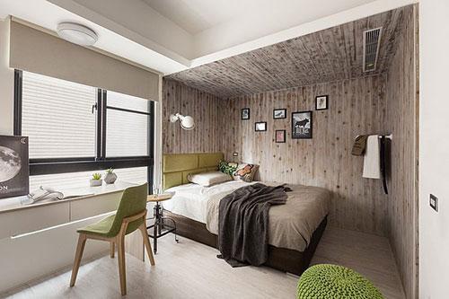 Slaapkamer Groen Bruin : Natuurlijke slaapkamer met houten muren slaapkamer ideeën