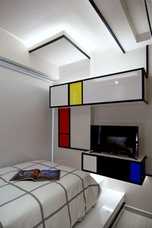 Slaapkamer met Mondriaan als thema
