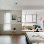 Slaapkamer ontwerp met loungehoek en werkplek
