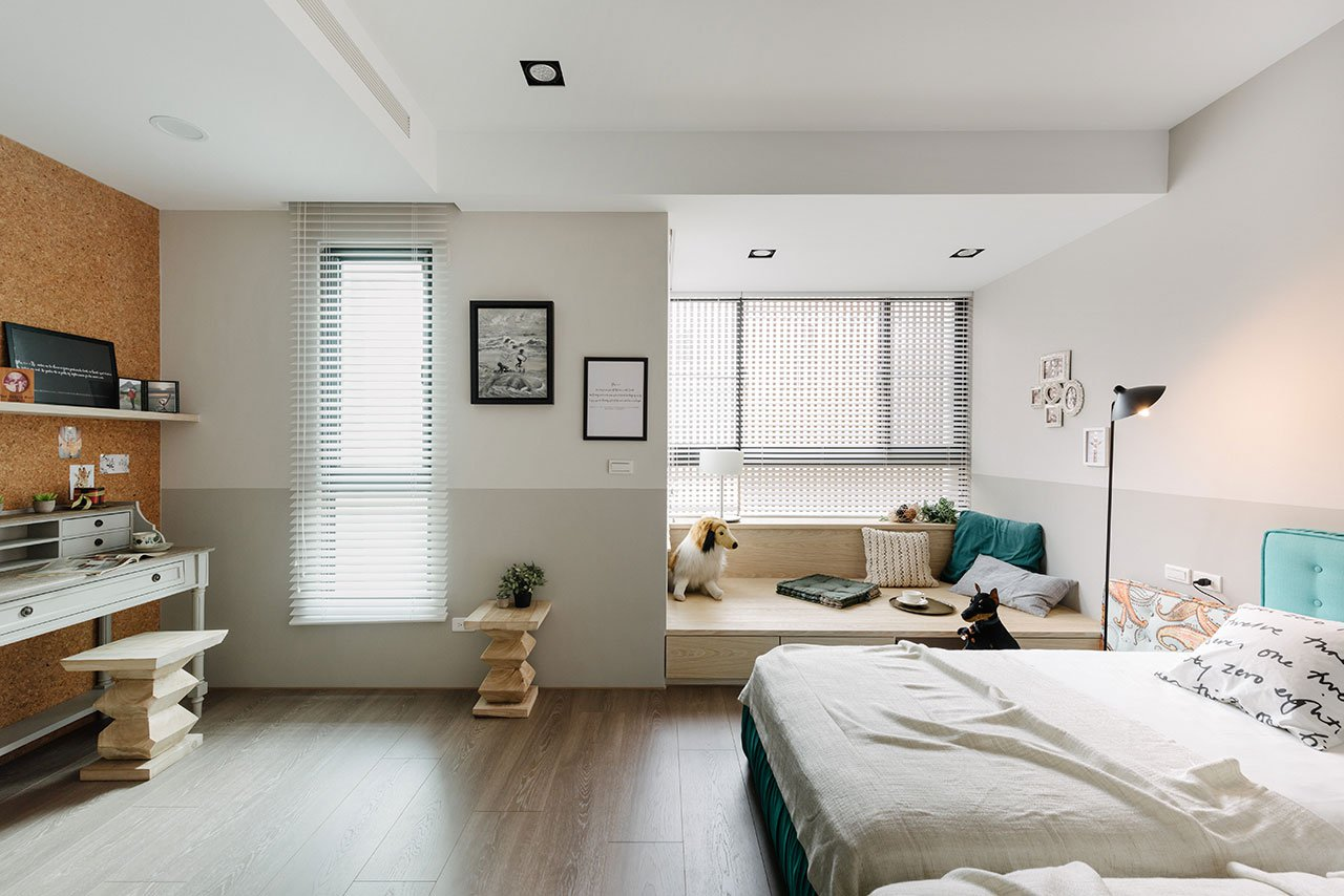 slaapkamer ontwerp met loungehoek en werkplek slaapkamer