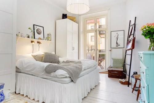 Slaapkamer Scandinavisch eenkamerappartement