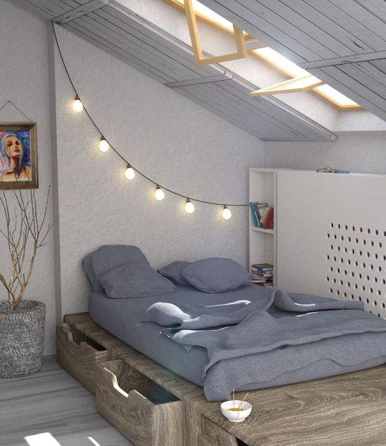 slaapkamer schuin dak laag bed