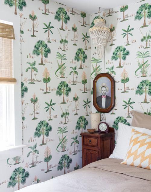 Behang Slaapkamer Ideeen : Slaapkamer met tropisch groen behang idee?n