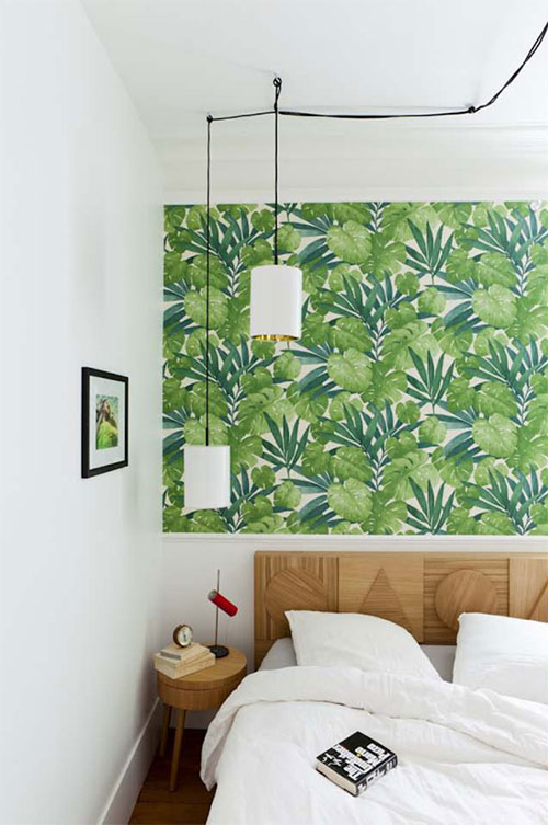 Slaapkamer met tropisch groen behang  Slaapkamer ideeën
