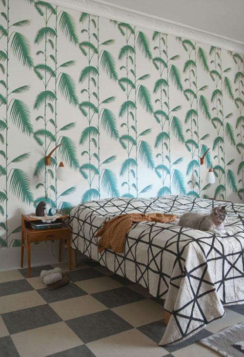 ... Ideeen Met Behang : Slaapkamer met tropisch groen behang idee?n