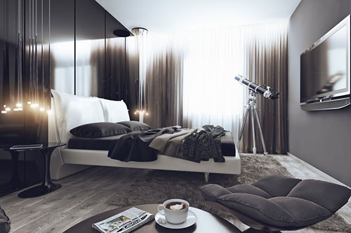 Slaapkamer met unieke decoratie stukken