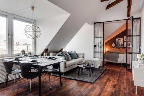 Slaapkamer met een zwarte stalen industri le wand slaapkamer idee n - Deco slaapkamer idee ...