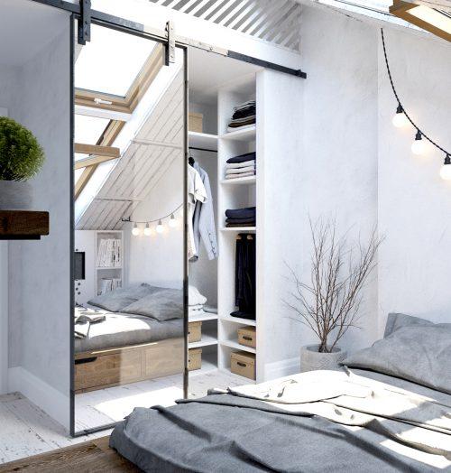 Grote Slaapkamer Kast : Stoer ontwerp van slaapkamer met schuine muur ...