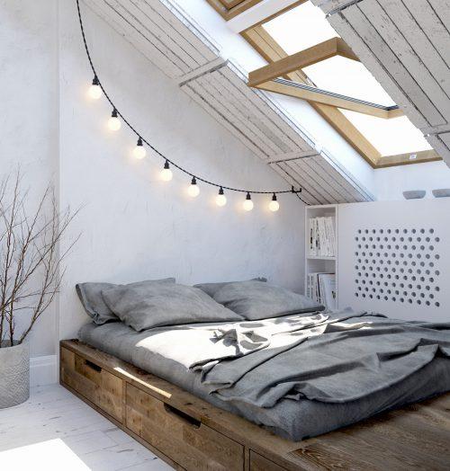 Stoer ontwerp van slaapkamer met schuine muur  Slaapkamer ideeën