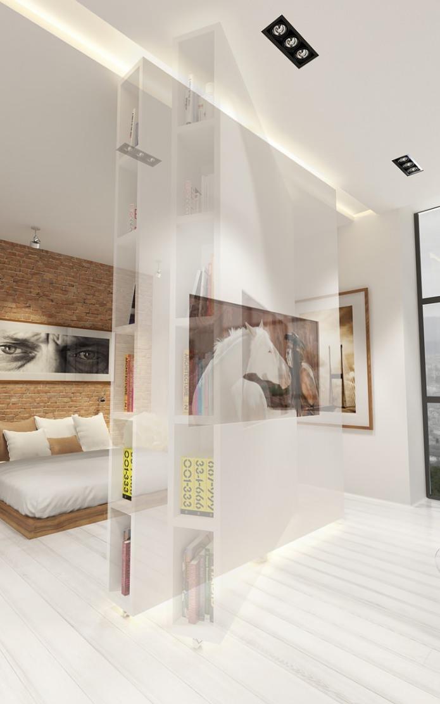 Stoere open loft woonkamer met een unieke scheidingswand