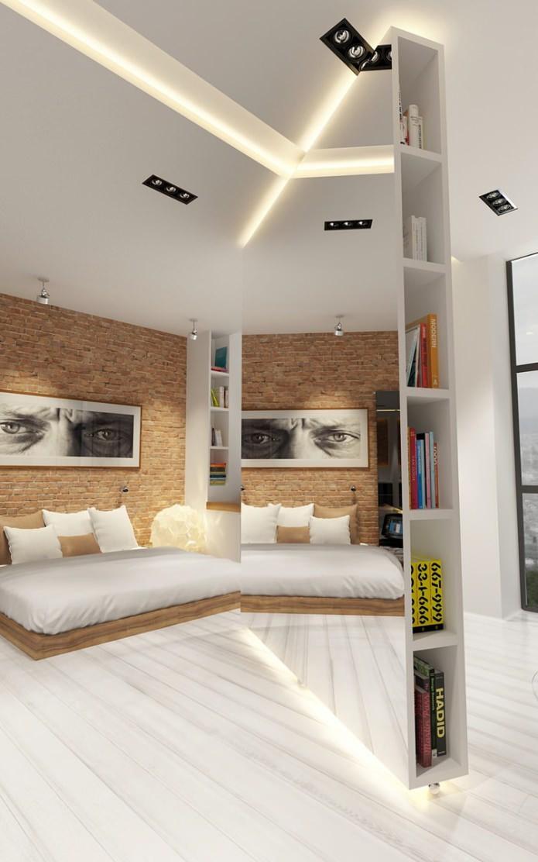 Stoere open loft woonkamer met een unieke scheidingswand ...