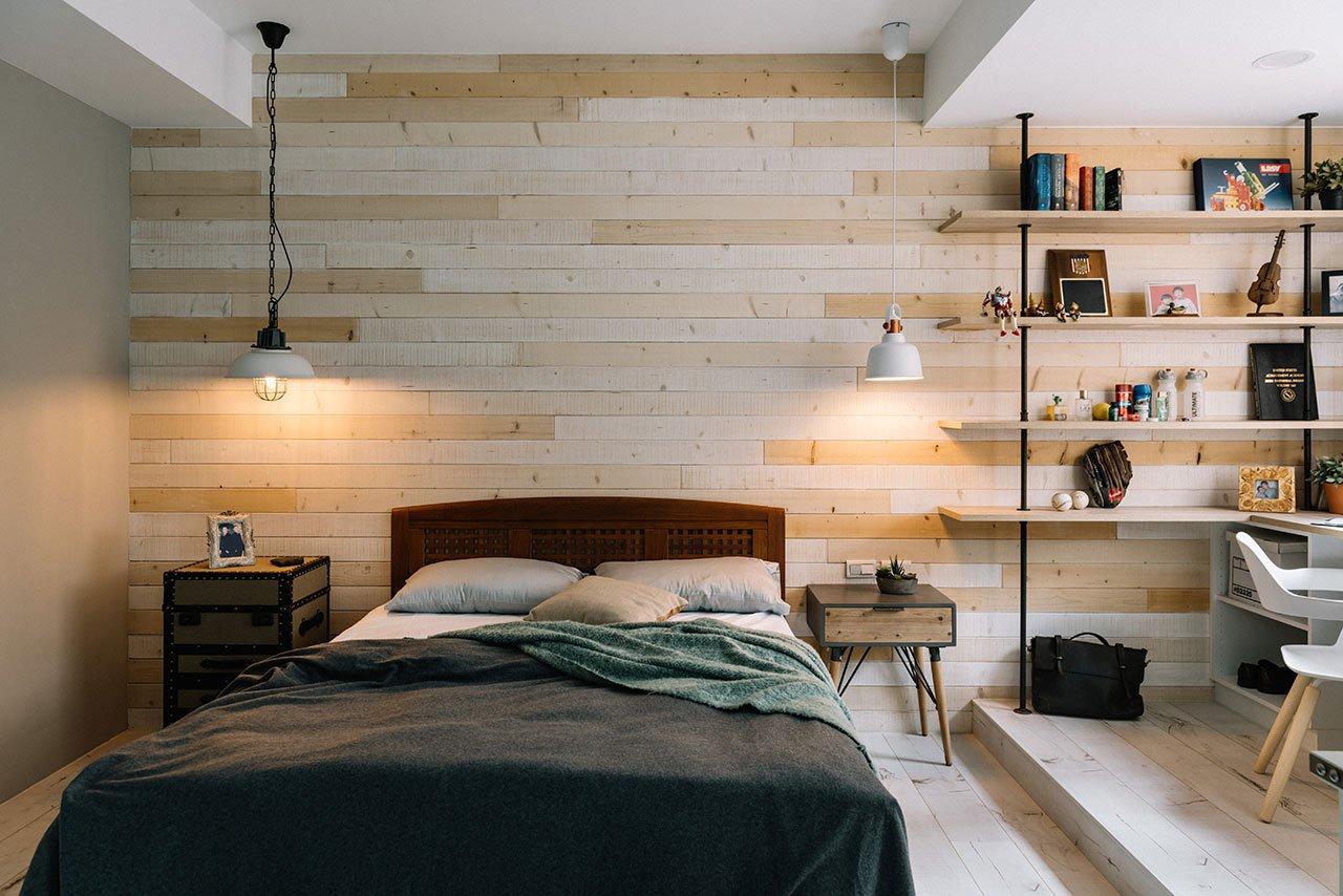 Stoere ruime slaapkamer met werkplek slaapkamer idee n - Ontwerp wandbekleding ...
