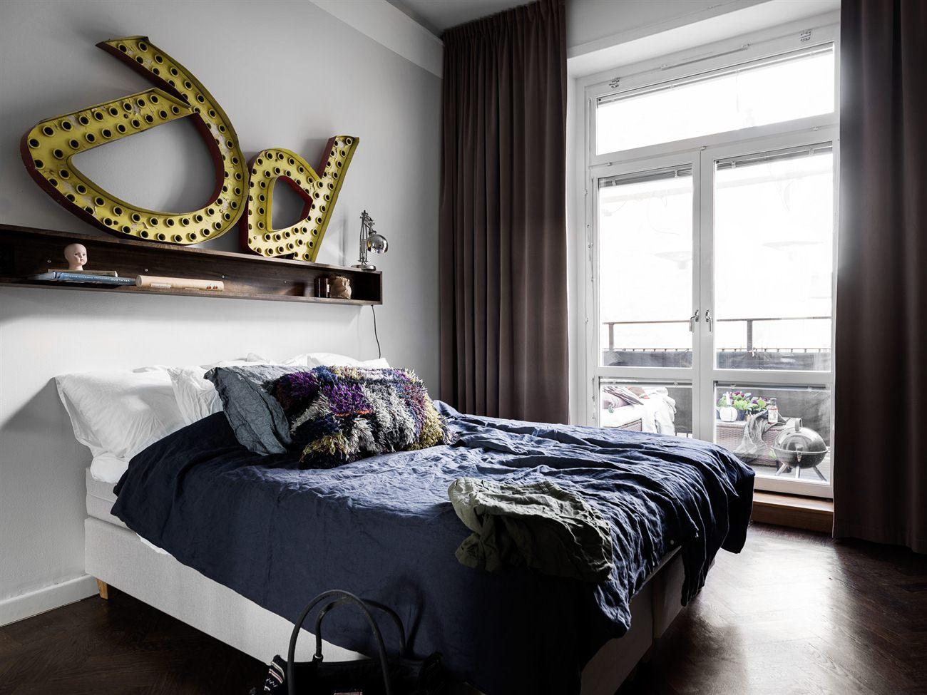 Stoere scandinavische slaapkamer met grijze muren slaapkamer idee n - Grijze slaapkamer ...