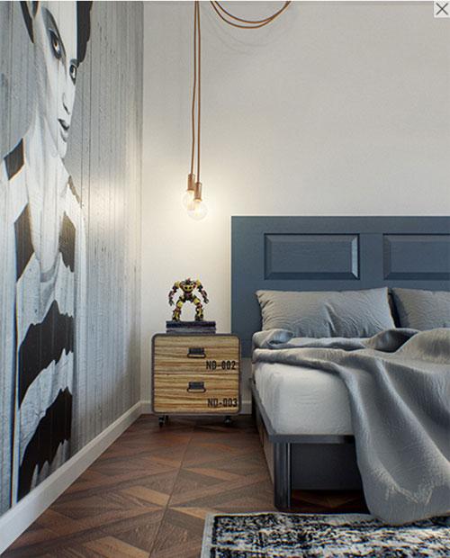 stoere slaapkamer met glazen wand en industriële kozijnen, Meubels Ideeën