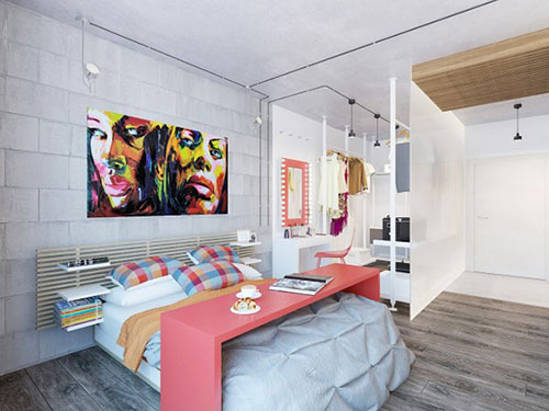 Stoere slaapkamer met mooie kleuren en materialen