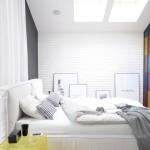 Stoere slaapkamer met open compacte badkamer