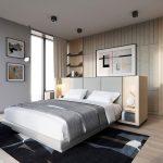 Strak slaapkamer ontwerp met neutrale kleuren
