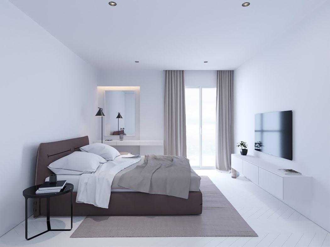 Strakke witte minimalistische slaapkamer met bruin- en zwarttinten