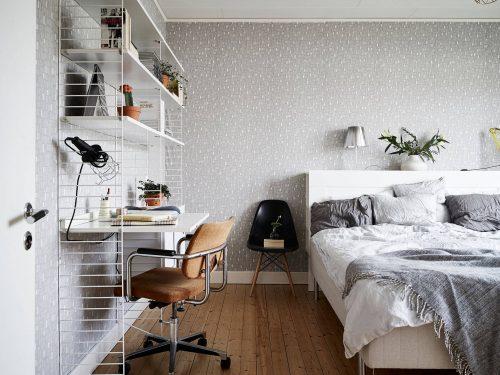 Stringkast werkplek in de slaapkamer