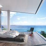 Super luxe slaapkamer van resort aan de Egeïsche Zee in Griekenland