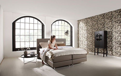 boxspring slaapkamer idee n. Black Bedroom Furniture Sets. Home Design Ideas