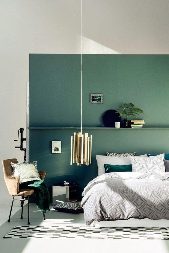 tijm groene muur slaapkamer