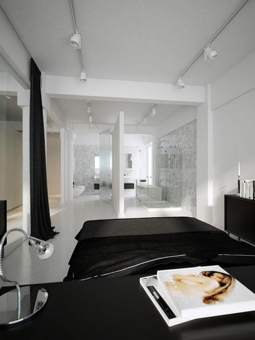 Transparante luxe slaapkamer met badkamer
