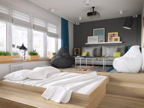 Uitschuifbaar bed in de trap van de woonkamer