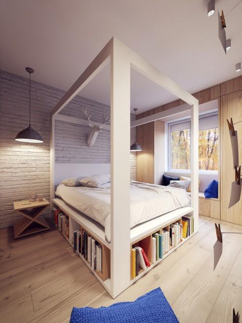 Veel opbergruimte in Poolse slaapkamer  Slaapkamer ideeën
