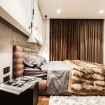 Warme slaapkamer met industrieel tintje