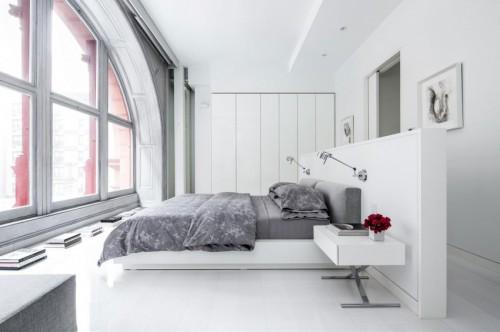 Slaapkamer New York : Witte slaapkamer van modern authentiek appartement uit new york